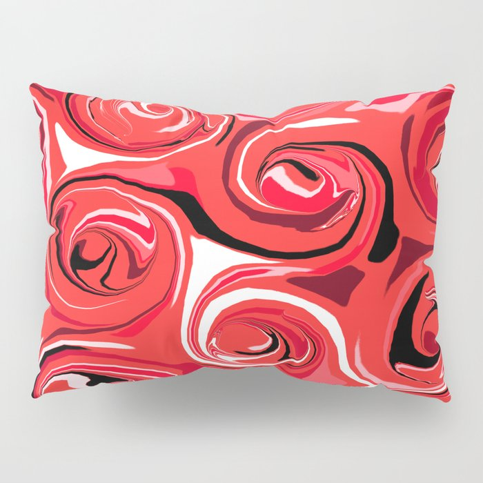 Red Apple Abstract Swirls Pattern Pillow Sham