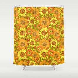 Pushing daisies orange with green base Shower Curtain