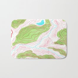 Let's go hiking - topographical map Bath Mat