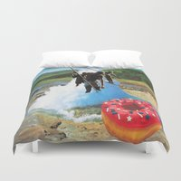 hunting Duvet Covers featuring Donuts Hunting by Raw Flakes Collages