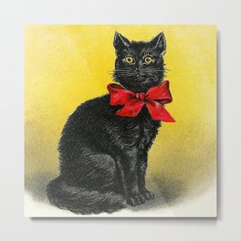 Pretty Black Cat- Vintage Cat Metal Print