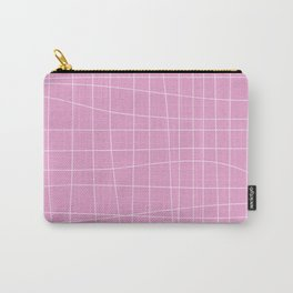 Simple Grid Pattern in Pink Lavender Carry-All Pouch