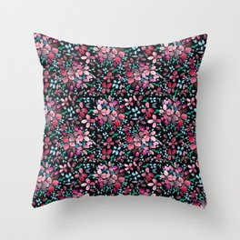 Romantic Scattered Floral Dark Throw Pillow