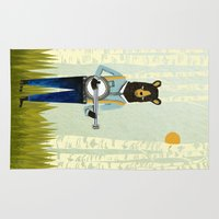 banjo Area & Throw Rugs featuring Bear's Bourree - Bear Playing Banjo by Prelude Posters