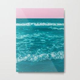 Teal Oceans Pink Skies Metal Print