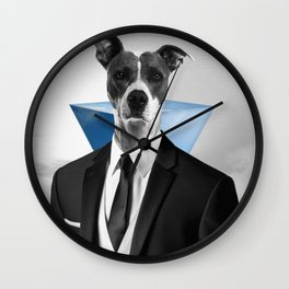 Collage Artwork - Business Dog  Wall Clock