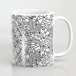Detailed Mandala Frenzy Black and White Coffee Mug