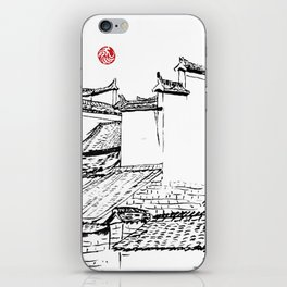 Chinese ink painting of Chinese village iPhone Skin