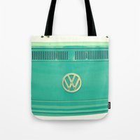 vw Tote Bags featuring Groovy VW by RDelean