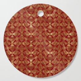 Art-deco gold foil look & burgundy pattern Cutting Board