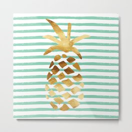 Pineapple & Stripes - Mint Metal Print