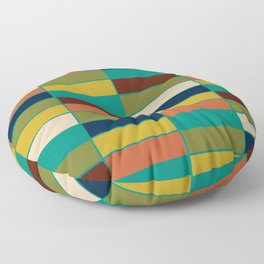 Mid Mod Blocks - Mid-century Modern Geometric Pattern in Mustard, Olive, Teal, and Orange Floor Pillow