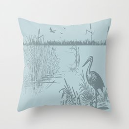 Oriental Exotic Heron & Birds on a Lake Print Throw Pillow