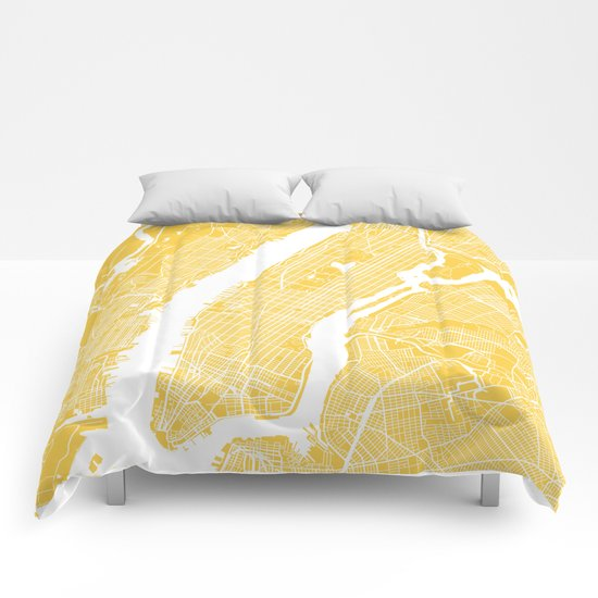 Manhattan map yellow Comforters