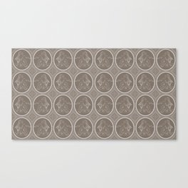 Grisaille Chestnut Brown Neo-Classical Ovals Canvas Print