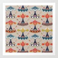 damask Art Prints featuring carousel damask by Sharon Turner