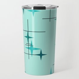 Mid Century Modern Stars Turquoise Travel Mug