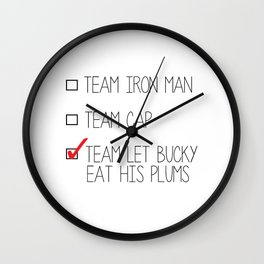 team let bucky eat his plums Wall Clock