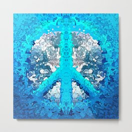 Abstract Blue Peace Sign Metal Print