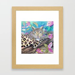 Lazy Leopard in the Jungle Framed Art Print