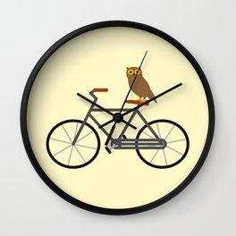 Owl Riding Bike Wall Clock