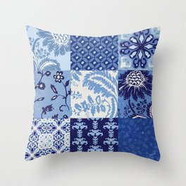 Blue and White Patchwork Squares Throw Pillow