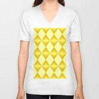 marina and the diamonds V-neck T-shirts featuring Abstract golden diamonds  by Zenya Zenyaris
