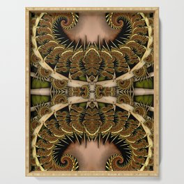 Baroque Feathers Green Serving Tray