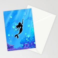 Beauty Mermaid Blue Sea Stationery Cards