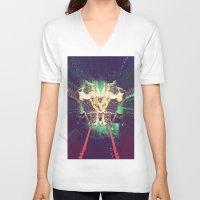 saga V-neck T-shirts featuring Galactic Cats Saga 1 by Carolina Nino