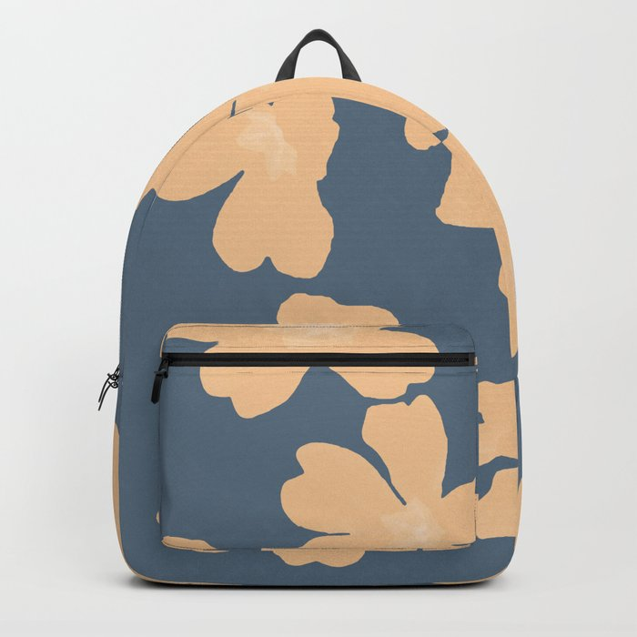Backpack Nude primroses floral pattern on blue   |   society6.com