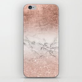 Modern faux rose gold glitter and foil ombre gradient on white marble color block iPhone Skin