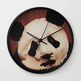 Cute Panda bear wooden marquetry Wall Clock