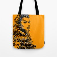 alex vause Tote Bags featuring Alex Vause (Laura Prepon)-typography OITNB by ThousandWords