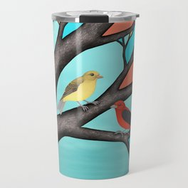 scarlet tanagers in the stained glass tree Travel Mug
