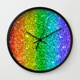 Glittery Rainbow Wall Clock