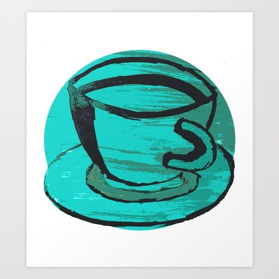 tea cup in green Art Print