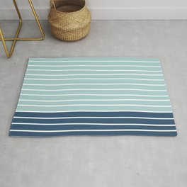 Colorful Stripes, Abstract, Navy Blue and Teal, Geometric Art Rug
