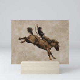 Western-style Bucking Bronco Cowboy Mini Art Print