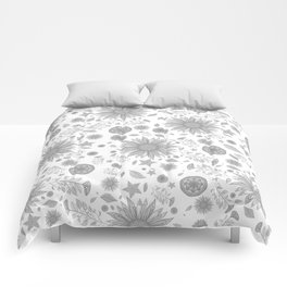 Beautiful Flowers in Faded Gray Black and White Vintage Floral Design Comforters