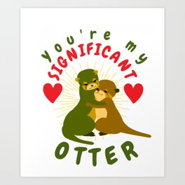 Romantic Otter Holding Hands Animal Drawing Otter Lovers Heart Art Print
