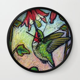 Rubythroat and Red Columbine Wall Clock