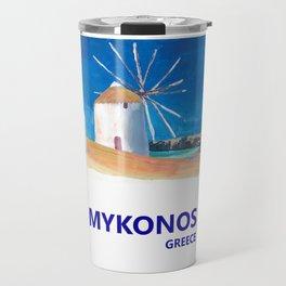 Mykonos Greece Windmill, Sea and Little Venice Travel Retro Poster Travel Mug