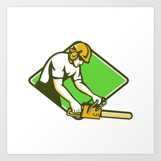 tree surgeon arborist lumberjack chainsaw Art Print