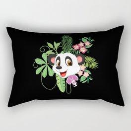 Kids Jungle Flowers Panda I Panda Head Outfit Rectangular Pillow
