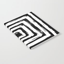 Minimal Black and White Square Rectangle Pattern Notebook