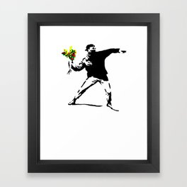 Banksy Flower Bomb Graffiti Street Art Mens Funny Humor Framed Art Print
