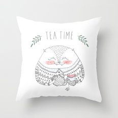 tea time cat Throw Pillow