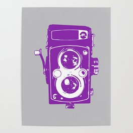 Big Vintage Camera Love - Purple on Grey Background Poster