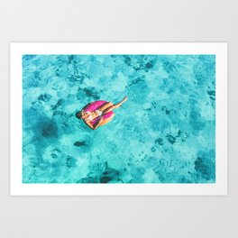 Drone aerial top view of beach vacation woman relaxing in donut float on turquoise ocean Bora Bora Art Print